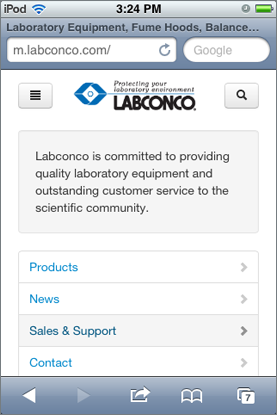 Example of mobile Labconco site